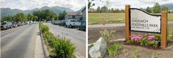 Before (2009) Pioneer Drive parking overflow, left; After (2015), right: parking increased to 25 spots separated from traffic, median garden moved to Chugach Foothills Park entrance; photos © Jerrianne Lowther.