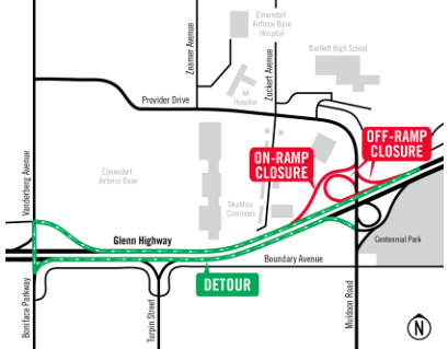 Glenn-Muldoon ramp closures July 8-11